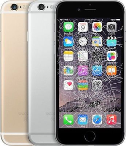 picture of black, silver and gold iphone 6s Plus with a broken lcd screen and cracked display on the black model
