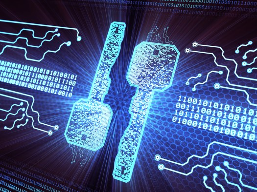 Digital security key concept background with binary data code