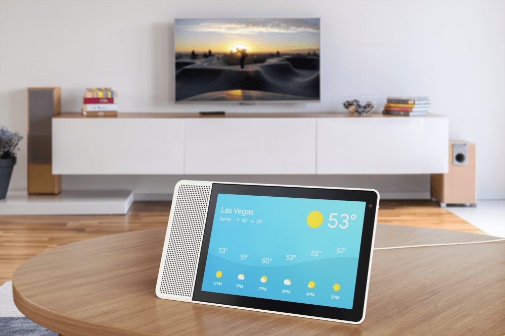 10-inch Lenovo Smart Display showing the weather