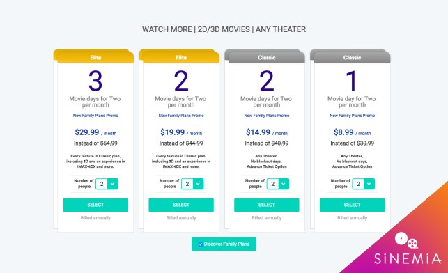 MoviePass competitor Sinemia intros family plans starting at