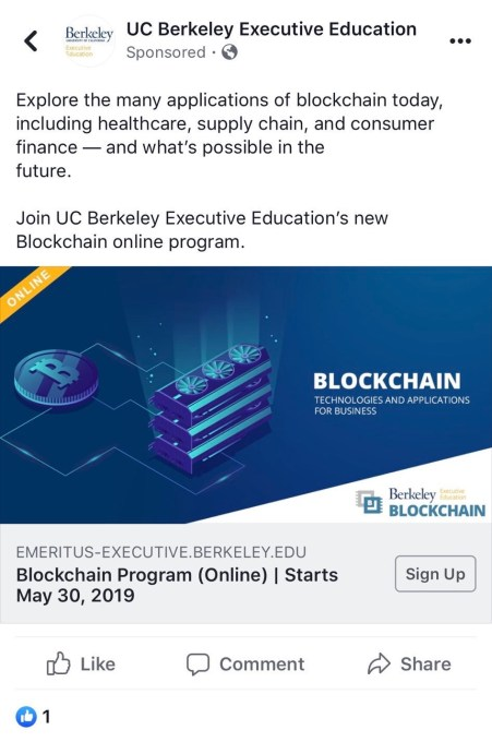 BLockchain Education Ad On Facebook - Facebook stops blocking some blockchain ads