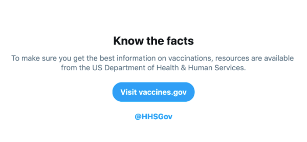 One of the new Twitter tools to stop the spread of misinformation about vaccines