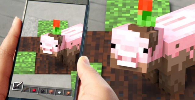 A pig from Minecraft showing in the real world via augmented reality.