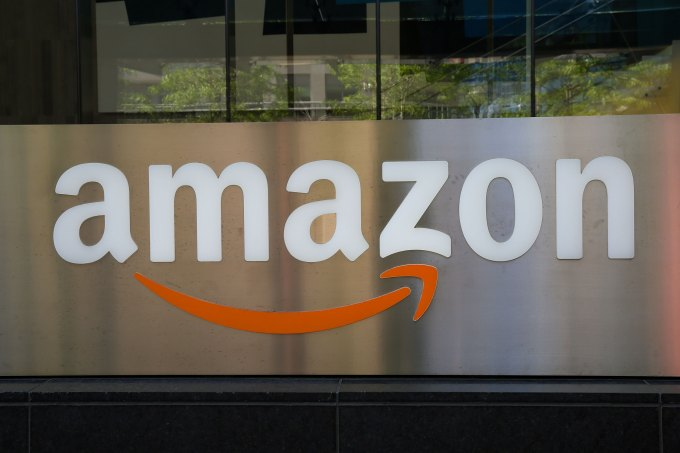 An Amazon logo seen outside a building in Toronto