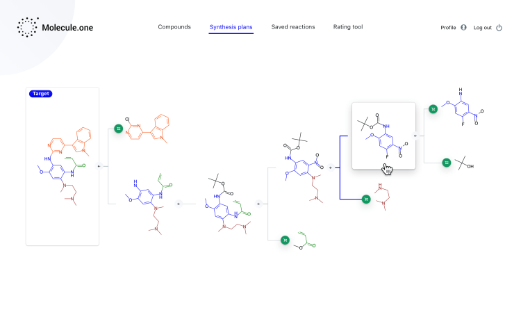 1.4.0 Molecule Dashboard Reaction tree