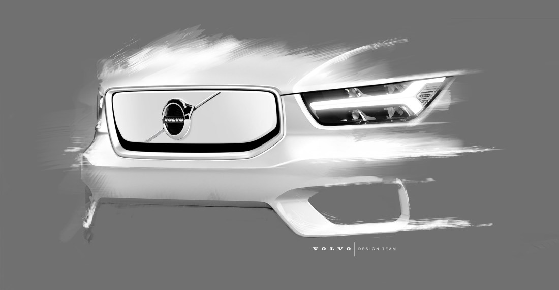Design sketch of Volvo Cars fully electric XC40 SUV
