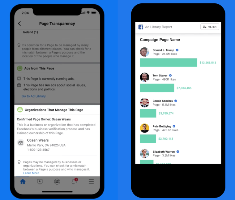 Facebook Page Transparency Spend Tracker