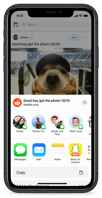 Reddit now lets iOS customers share to Snapchat
