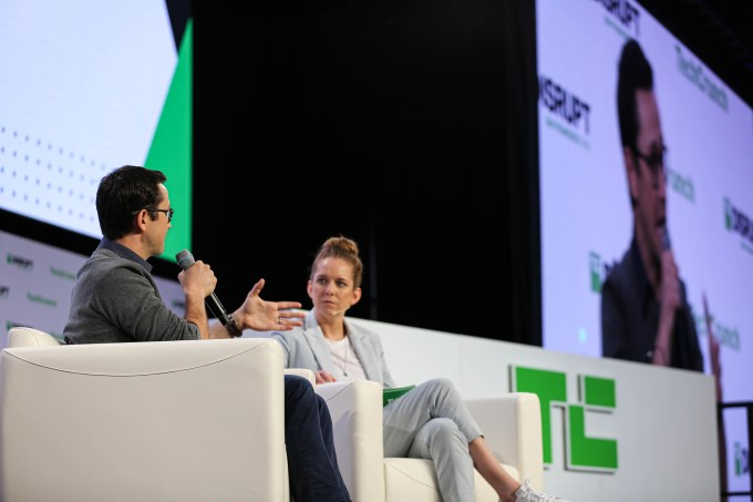 Joseph Gordon-Levitt speaks with Jordan Crook at TechCrunch Disrupt 2019 on October 2, 2019.