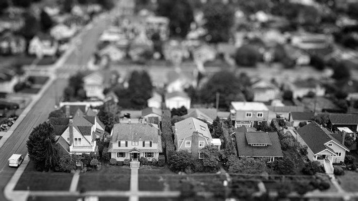 American Suburban Neighborhood Tilt-shift Aerial Photo