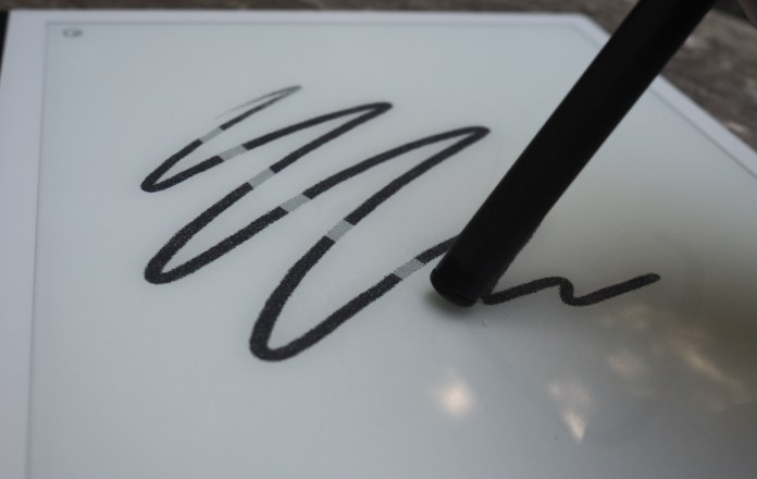 The reMarkable e-paper tablet, with stylus erasing a scribble