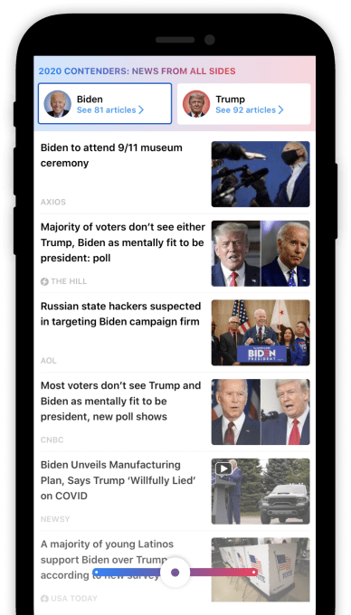 SmartNews' News From All Sides feature for the U.S. presidential election