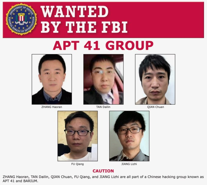 Justice Department charges five Chinese members of APT41 over cyberattacks on US companies   TechCrunch