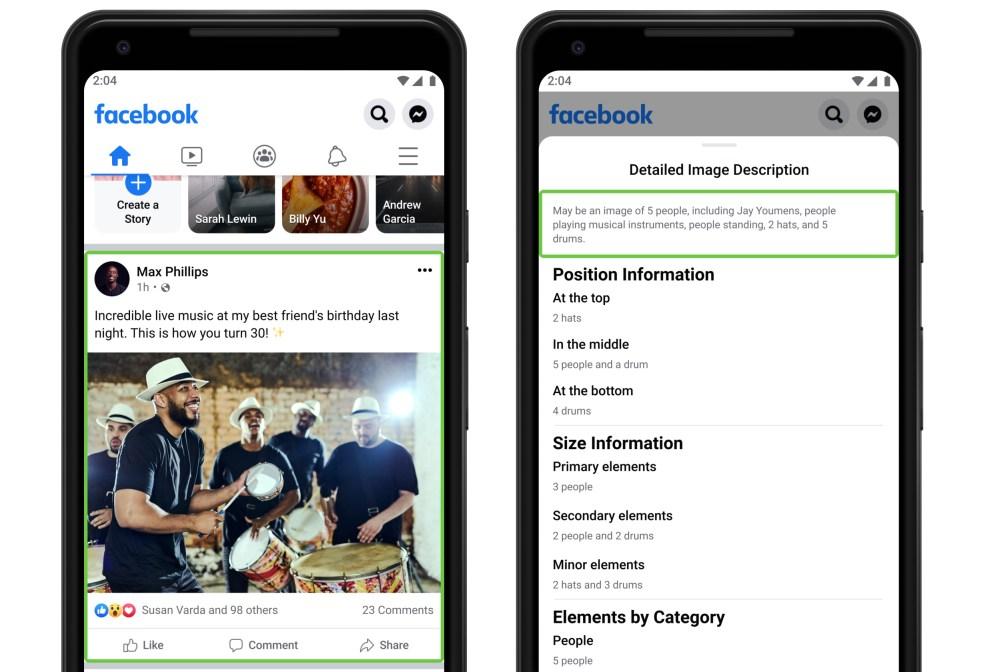L'application Facebook pour smartphone affichant des sous-titres détaillés pour une image.