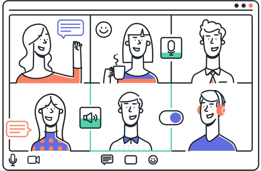 Ilustración de seis personas usando una aplicación de video chat.