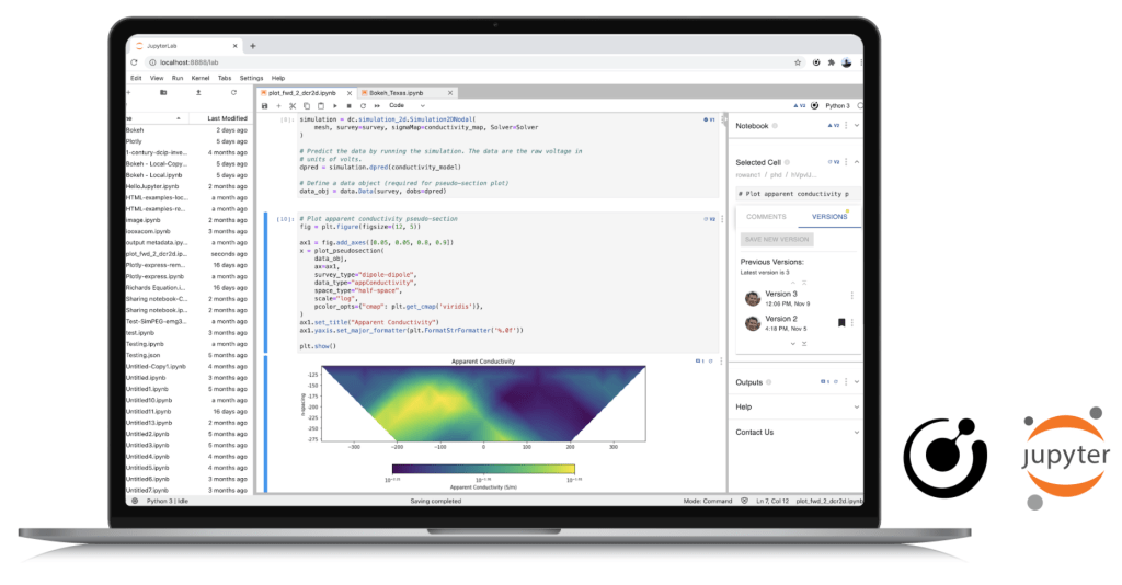 Lab notes in Jupyter on a laptop screen.