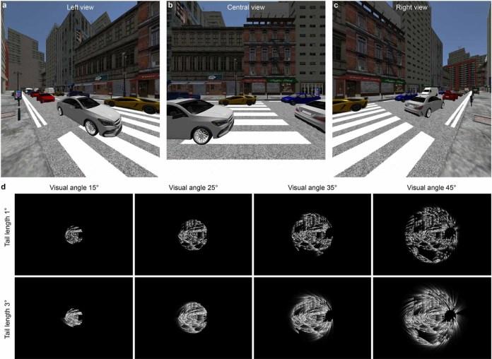 Uma cena de rua renderizada digitalmente e versões monocromáticas distorcidas abaixo, mostrando várias maneiras de representá-la por meio de fósforos virtuais.