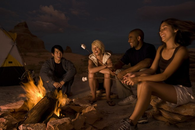 Two couples sitting by a campfire