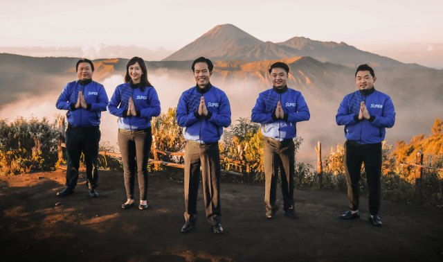 Super's founding team on Mount Bromo in East Java