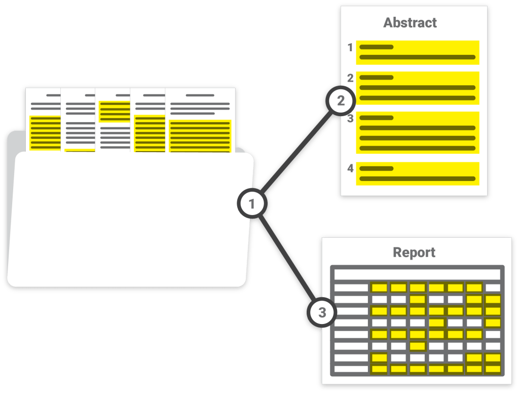 Illustration showing a document being turned into a report and a spreadsheet.