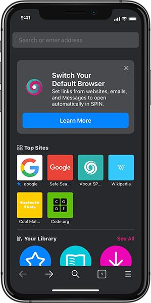 spin safe default browser