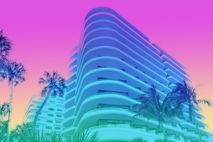 a photo of an art deco style building in Miami with pastel gradient colors