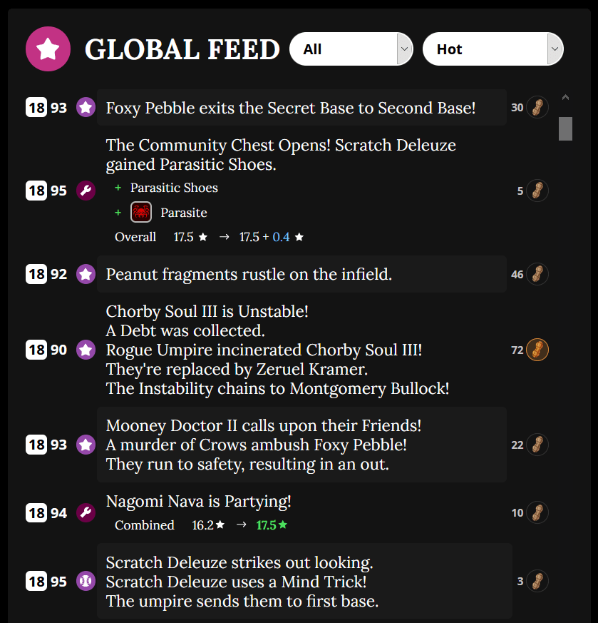 Activity feed from the game Blaseball showing various absurd and normal events like hits and incinerations.