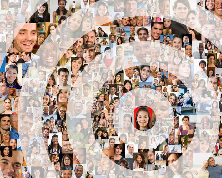 Image of a bullseye over a collage of people.