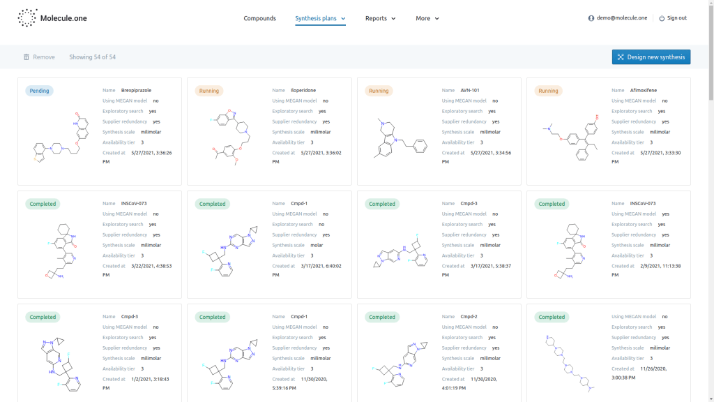 Screenshot of the Molecule.one interface, showing chemical structures.