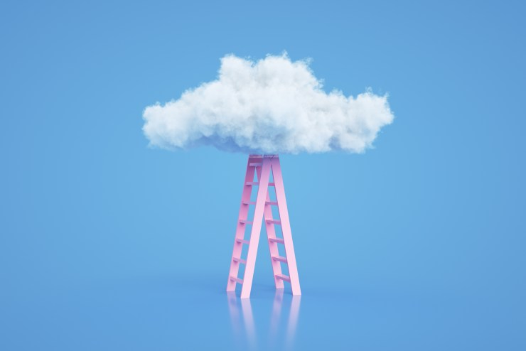 3d rendering of Staircase and cloud.