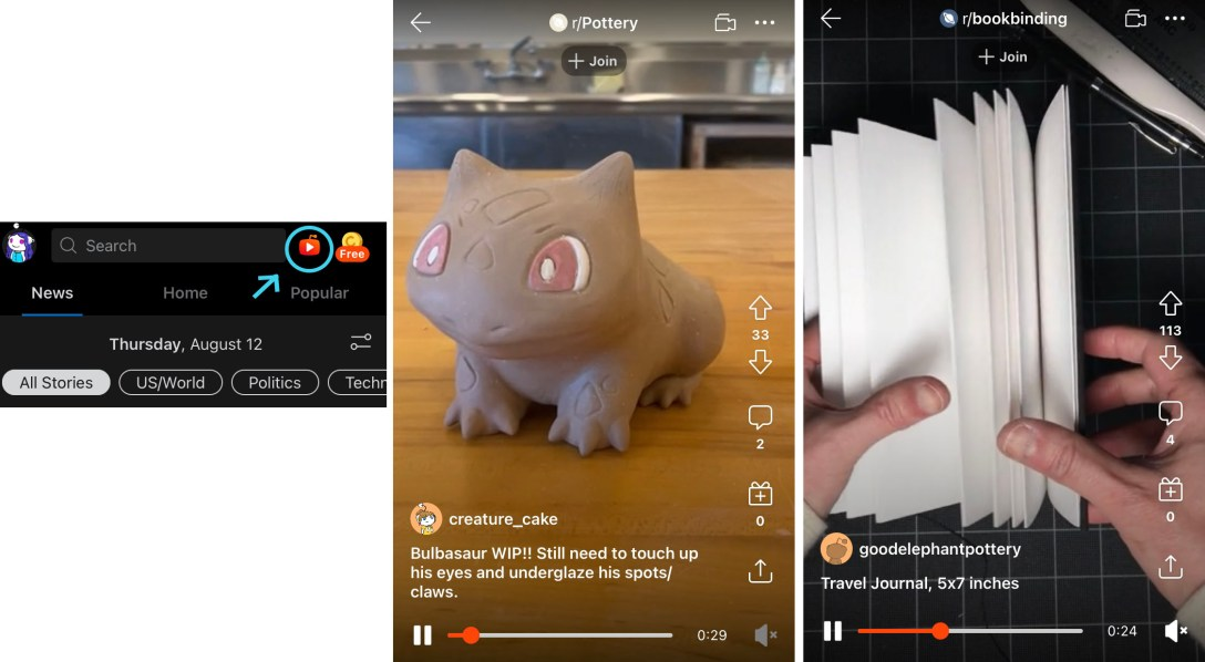 Images of new Reddit features