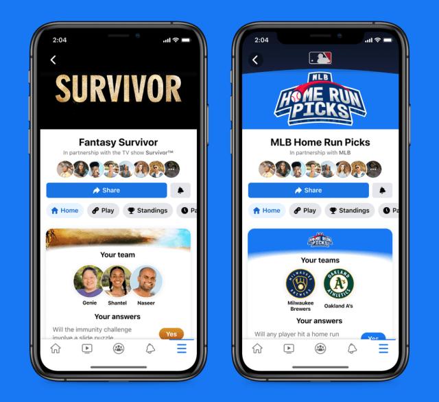 Facebook gaming fantasy survivor and MLB picks