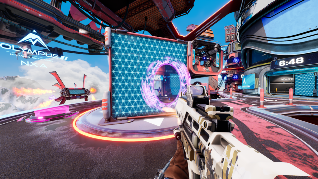 Screenshot of the game Splitgate showing a player aiming through a portal
