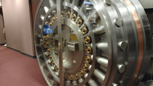 The door to a bank vault