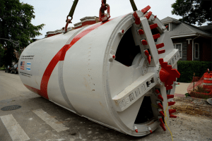 Part of the cutting head of an 84-inch (2.13 m) tunnel boring machine