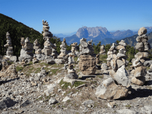 Rock cairns in a wilderness area