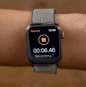 Apple Watch series 5 voice memo
