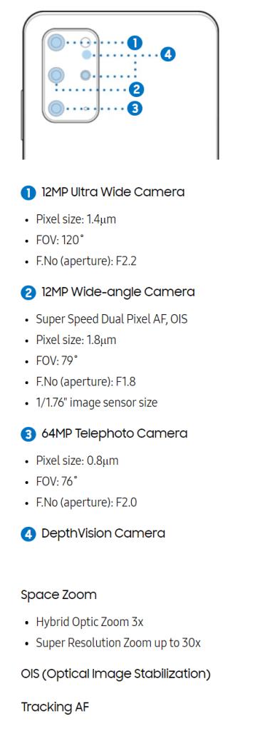 Samsung Galaxy S20+ Plus Rear Cameras