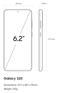 Samsung Galaxy S20 Size