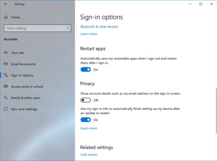 Disable Restarting Apps At Sign-In - Windows 10 May 2020 Update (20H1)