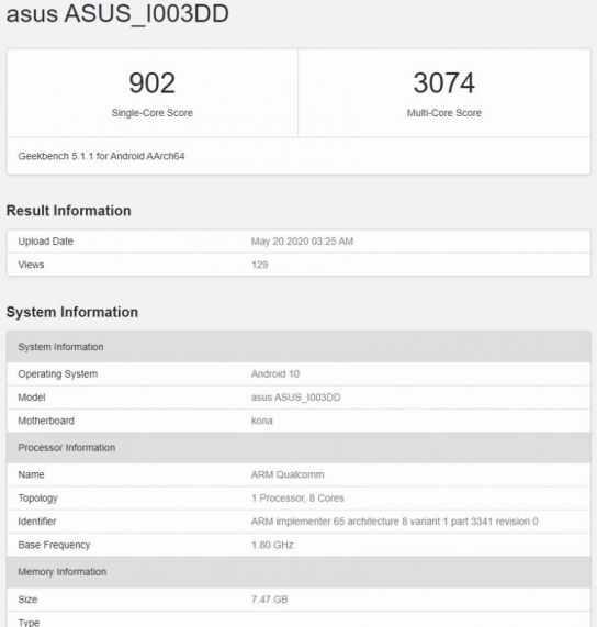 ASUS ROG Phone 3- GeekBench
