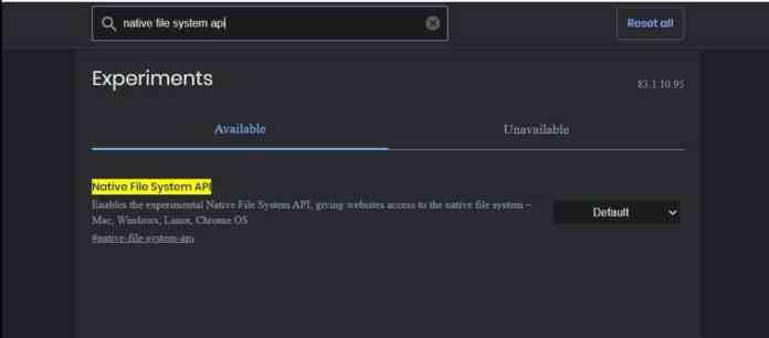 Native file system api