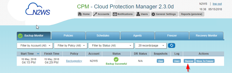 Recover Backup Via N2WS Veeam Cloud Protection Manager (CPM