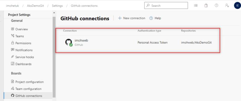 Azure-DevOps-and-GitHub-Connection-established