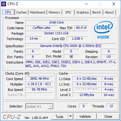 Three Coffee Lake Processor Specs and Details Revealed