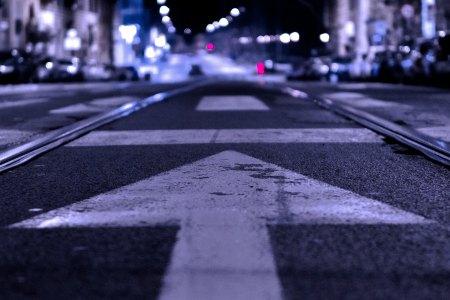 Arrow on road facing forward