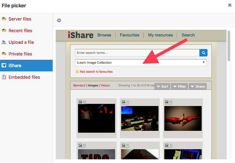 ishare screen shot of searching images