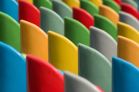 rows of coloured chairs