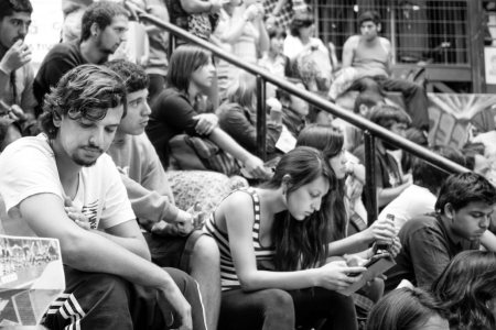 black and white photo of students in lecture