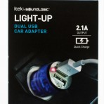 Dual USB Car Charger (assorted colours may include blue, purple or rainbow)